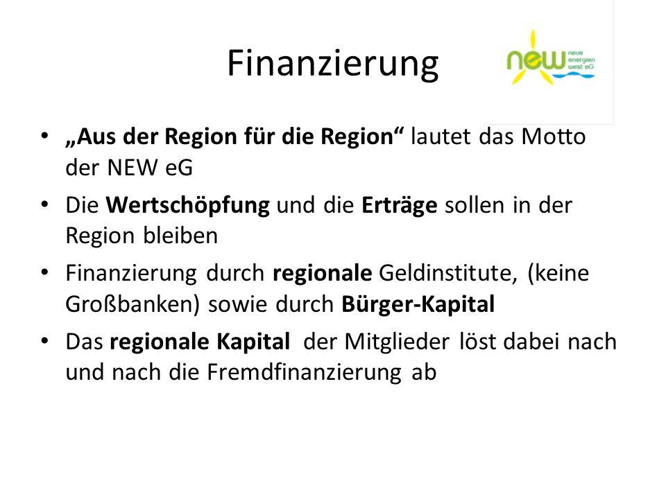 """Finanzierung""""Aus der Region für die Region lautet das Motto der NEW eG. Die Wertschöpfung und die Erträge sollen in der Region bleiben."""