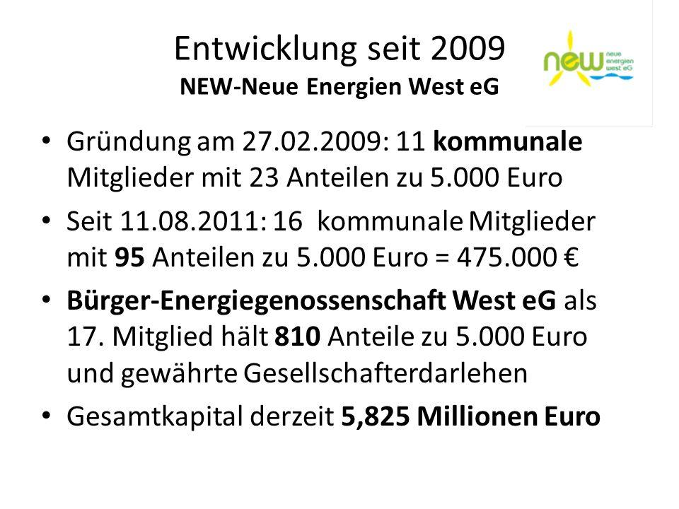 Entwicklung seit 2009 NEW-Neue Energien West eG