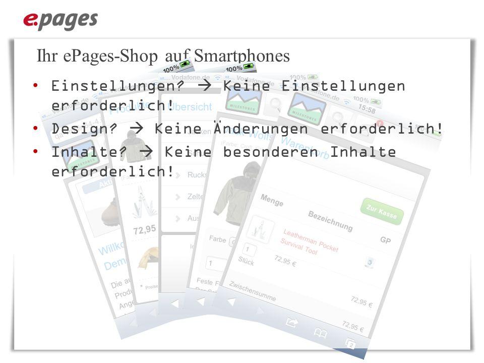 Ihr ePages-Shop auf Smartphones