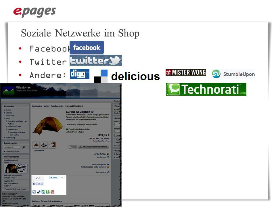 Soziale Netzwerke im Shop