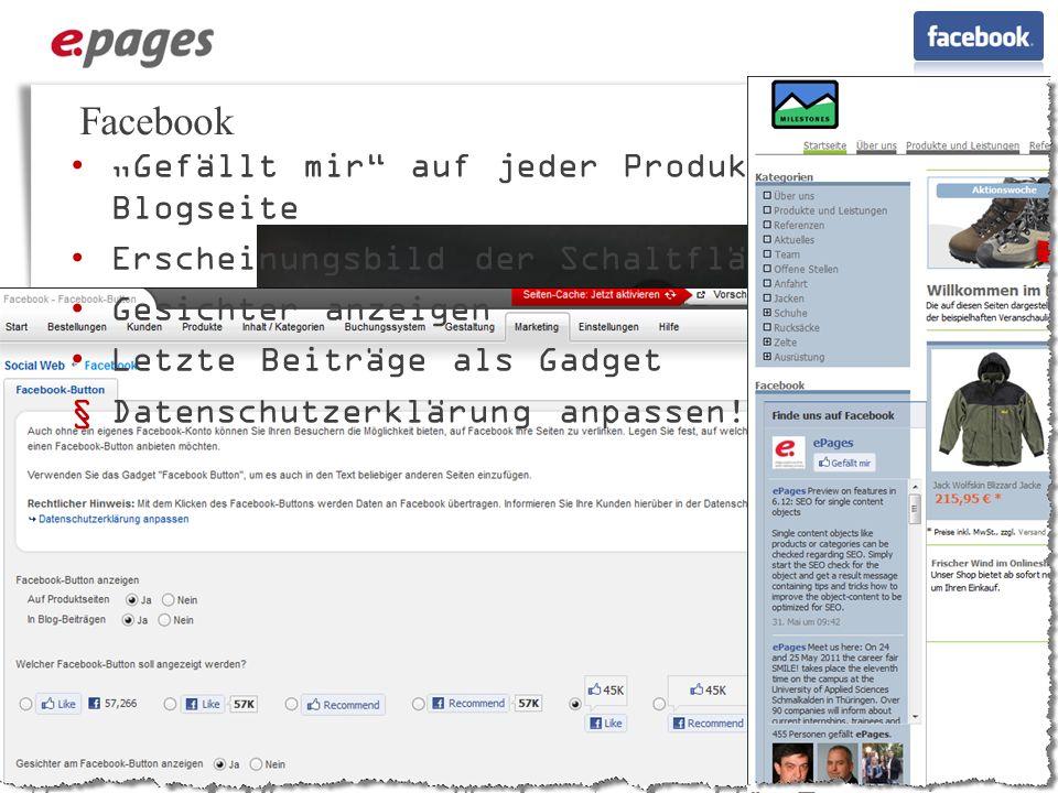 """Facebook """"Gefällt mir auf jeder Produkt- und Blogseite"""