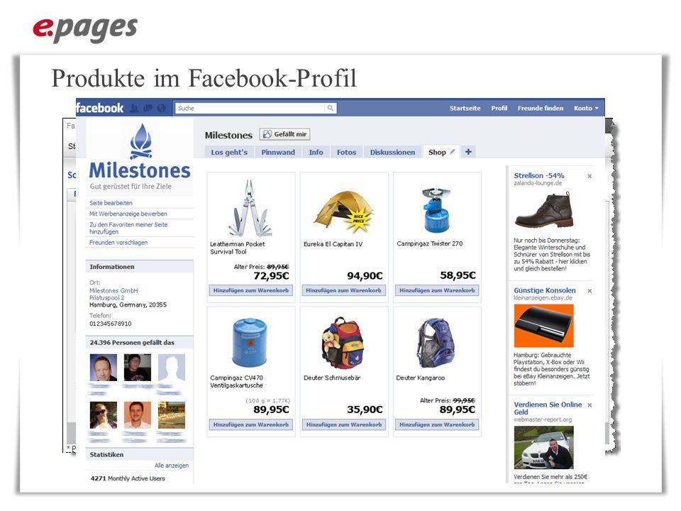 Produkte im Facebook-Profil