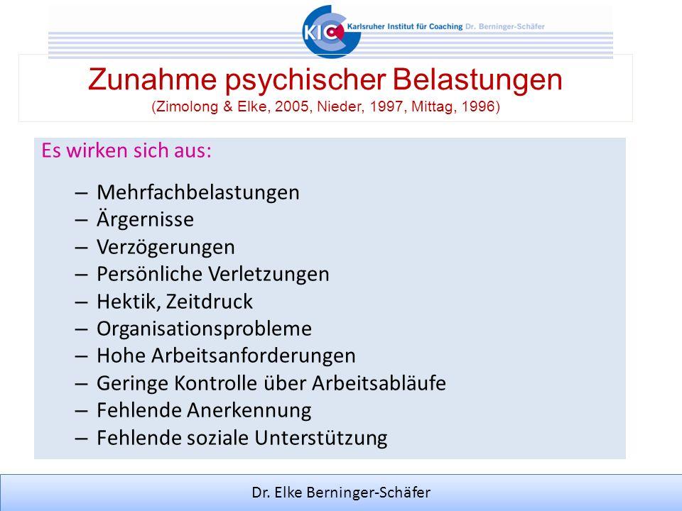 Zunahme psychischer Belastungen (Zimolong & Elke, 2005, Nieder, 1997, Mittag, 1996)