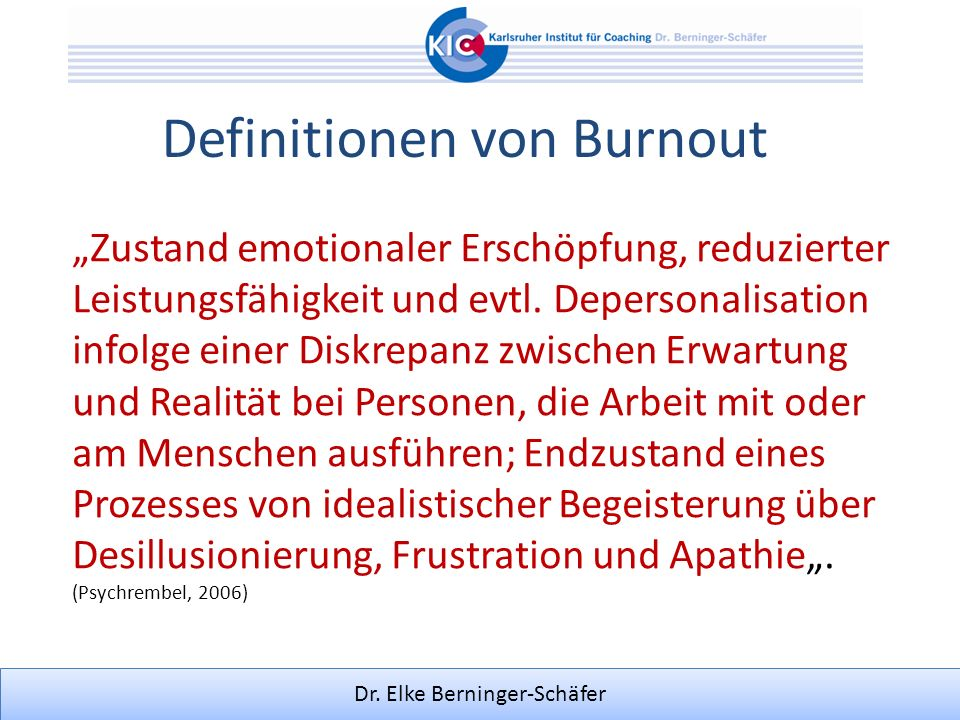Definitionen von Burnout