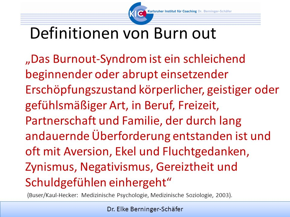 Definitionen von Burn out