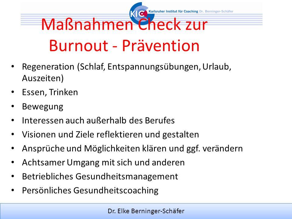 Maßnahmen Check zur Burnout - Prävention