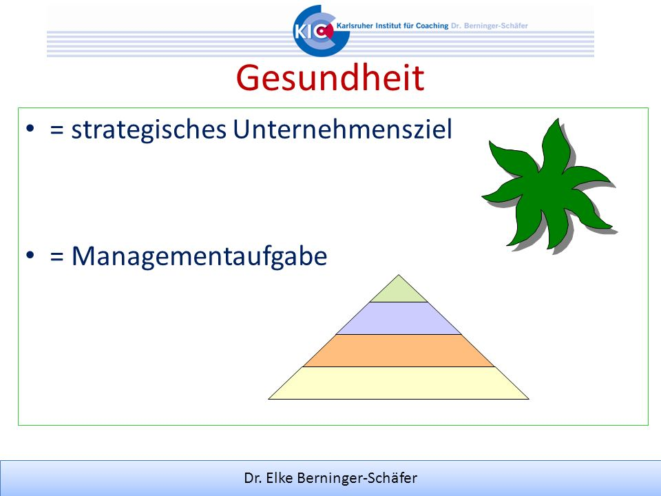 Gesundheit = strategisches Unternehmensziel = Managementaufgabe