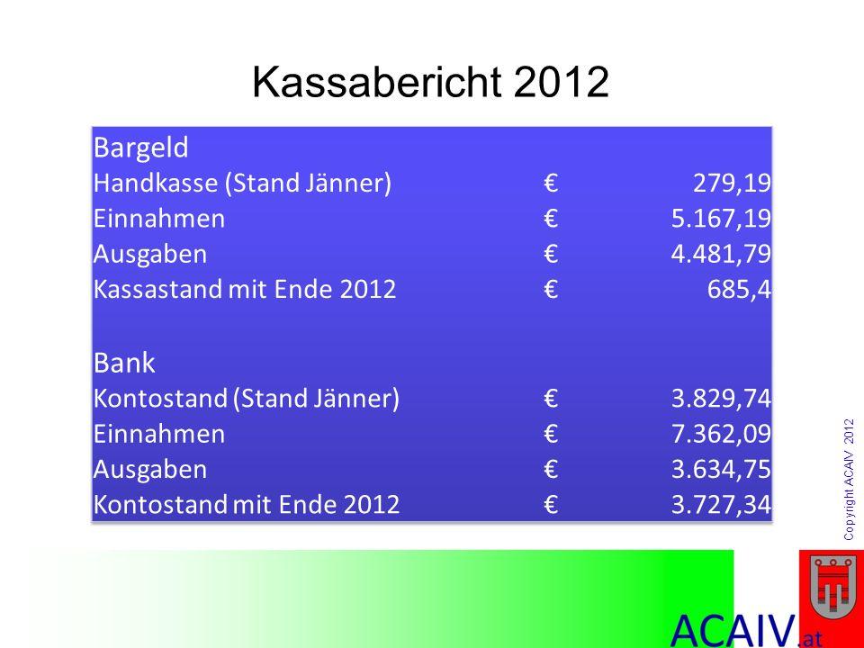 Kassabericht 2012 Bargeld Bank Handkasse (Stand Jänner) € 279,19