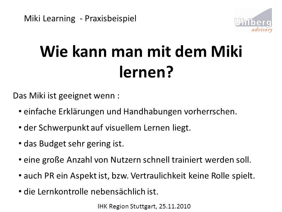 Miki Learning - Praxisbeispiel