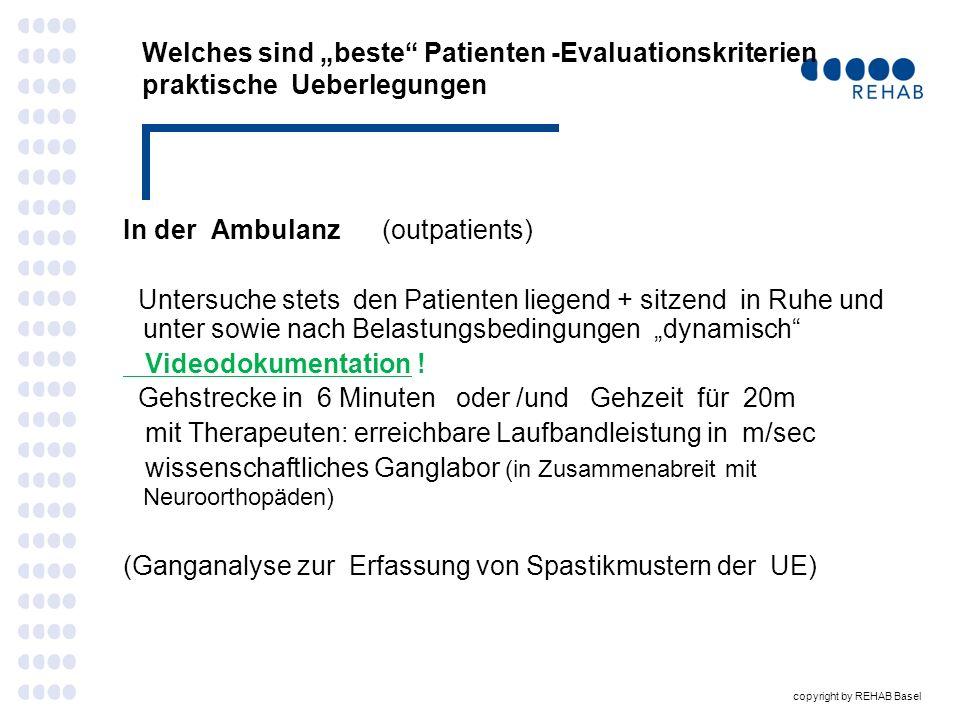 """Welches sind """"beste Patienten -Evaluationskriterien praktische Ueberlegungen"""