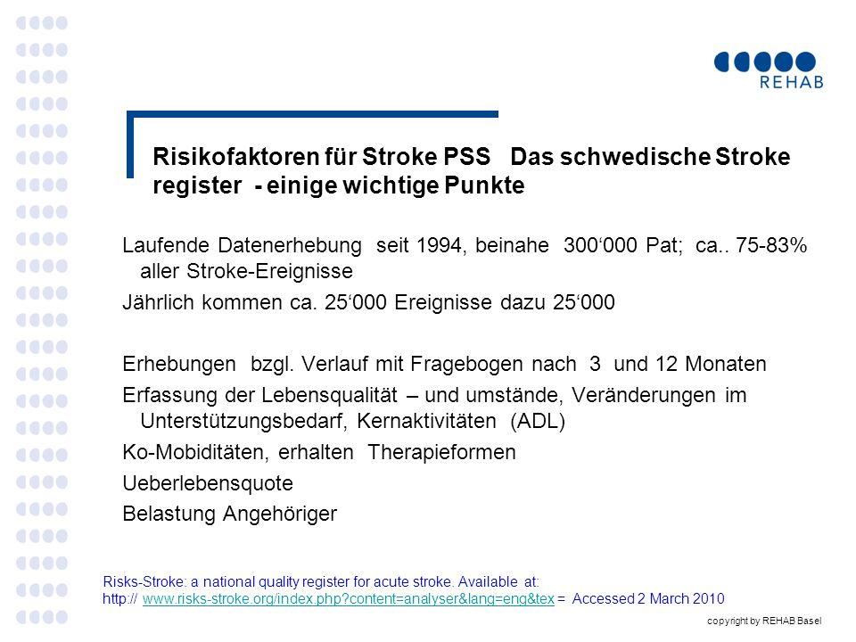Risikofaktoren für Stroke PSS Das schwedische Stroke register - einige wichtige Punkte