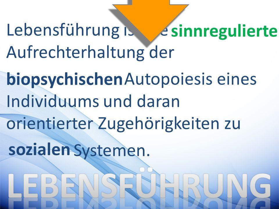 Lebensführung ist die Aufrechterhaltung der Autopoiesis eines Individuums und daran orientierter Zugehörigkeiten zu Systemen.