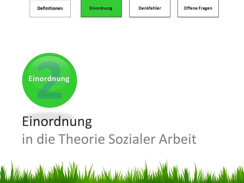 2 Einordnung in die Theorie Sozialer Arbeit Einordnung Definitionen