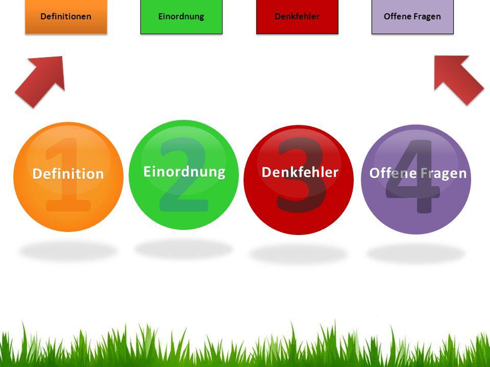 1 2 3 4 Einordnung Definition Denkfehler Offene Fragen Definitionen