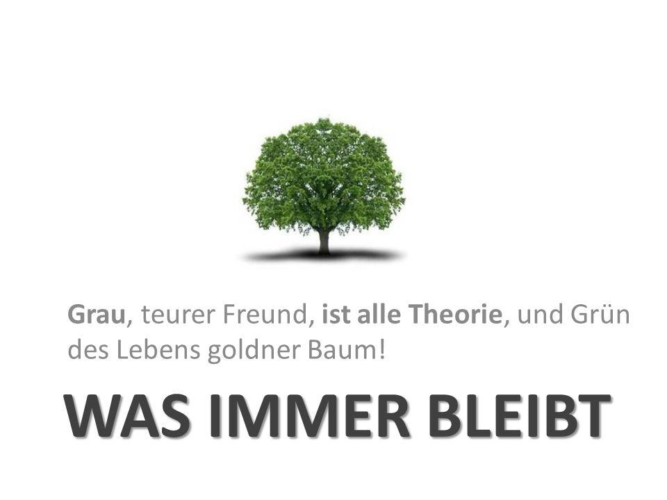 Grau, teurer Freund, ist alle Theorie, und Grün des Lebens goldner Baum!