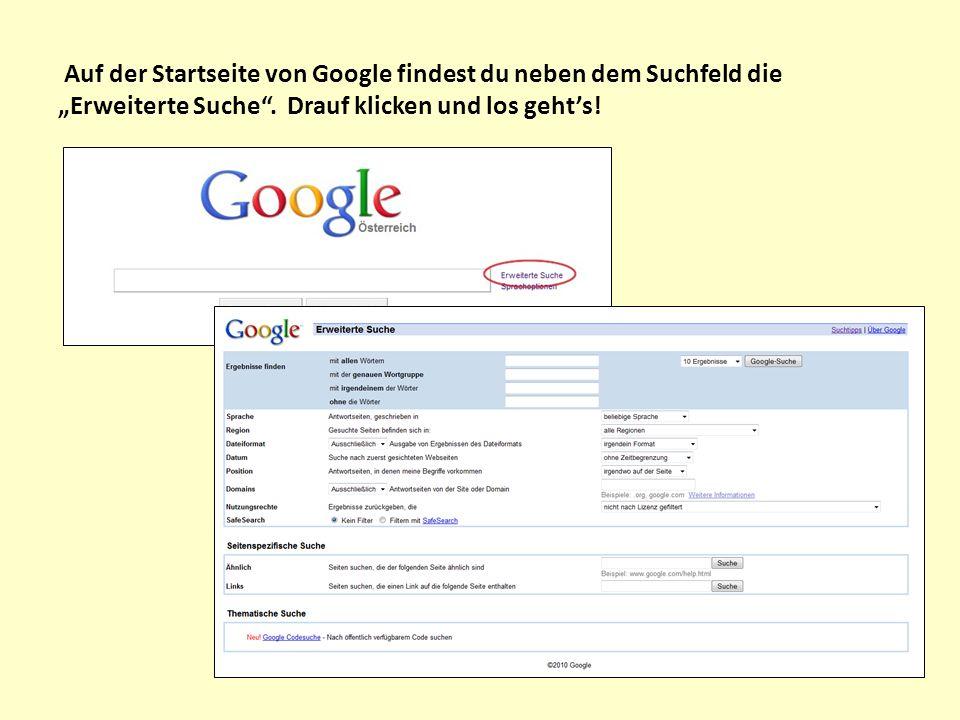 """Auf der Startseite von Google findest du neben dem Suchfeld die """"Erweiterte Suche ."""