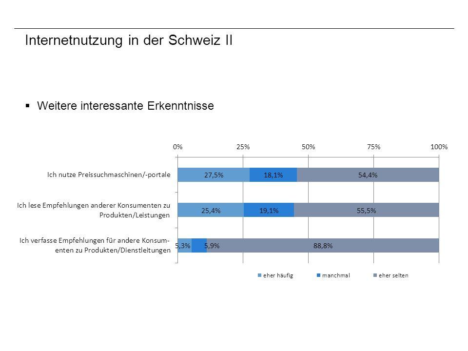 Internetnutzung in der Schweiz II