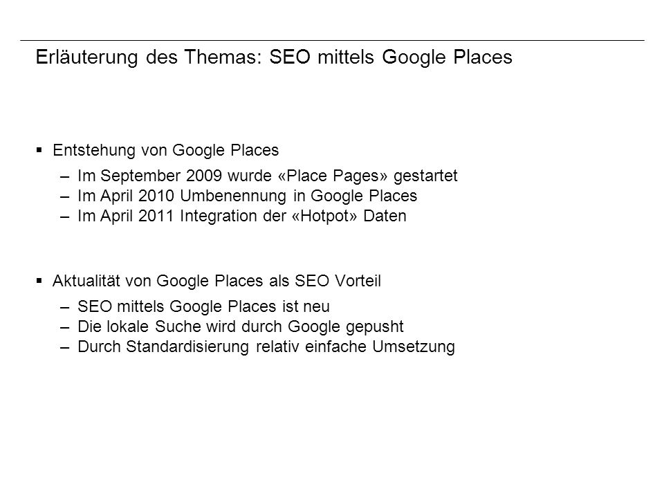 Erläuterung des Themas: SEO mittels Google Places
