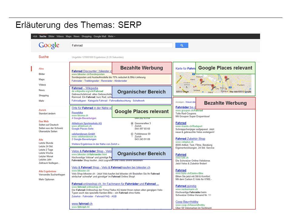 Erläuterung des Themas: SERP