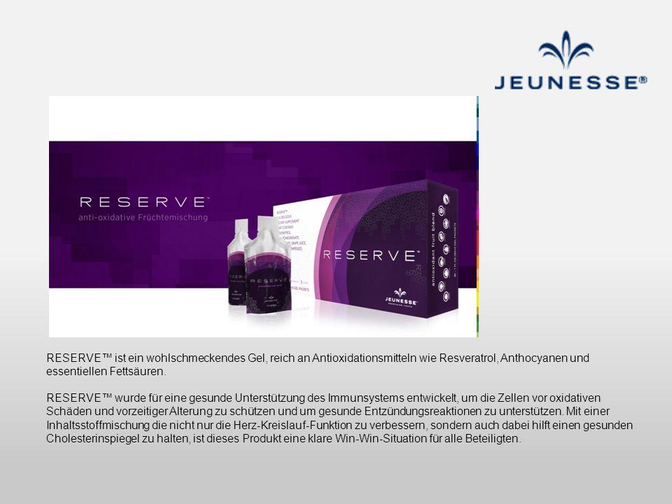 RESERVE™ ist ein wohlschmeckendes Gel, reich an Antioxidationsmitteln wie Resveratrol, Anthocyanen und essentiellen Fettsäuren.