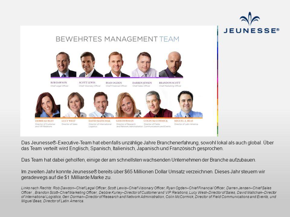 Das Jeunesse®-Executive-Team hat ebenfalls unzählige Jahre Branchenerfahrung, sowohl lokal als auch global. Über das Team verteilt wird Englisch, Spanisch, Italienisch, Japanisch und Französisch gesprochen.