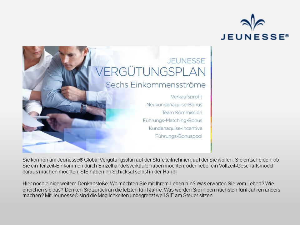 Sie können am Jeunesse® Global Vergütungsplan auf der Stufe teilnehmen, auf der Sie wollen.