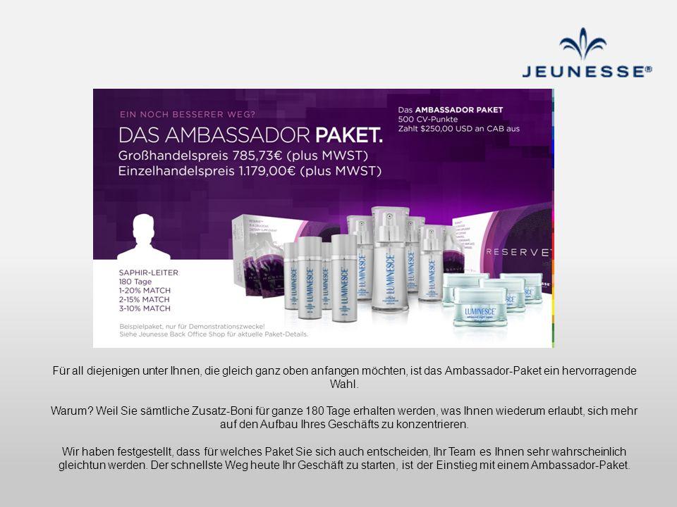 Für all diejenigen unter Ihnen, die gleich ganz oben anfangen möchten, ist das Ambassador-Paket ein hervorragende Wahl.
