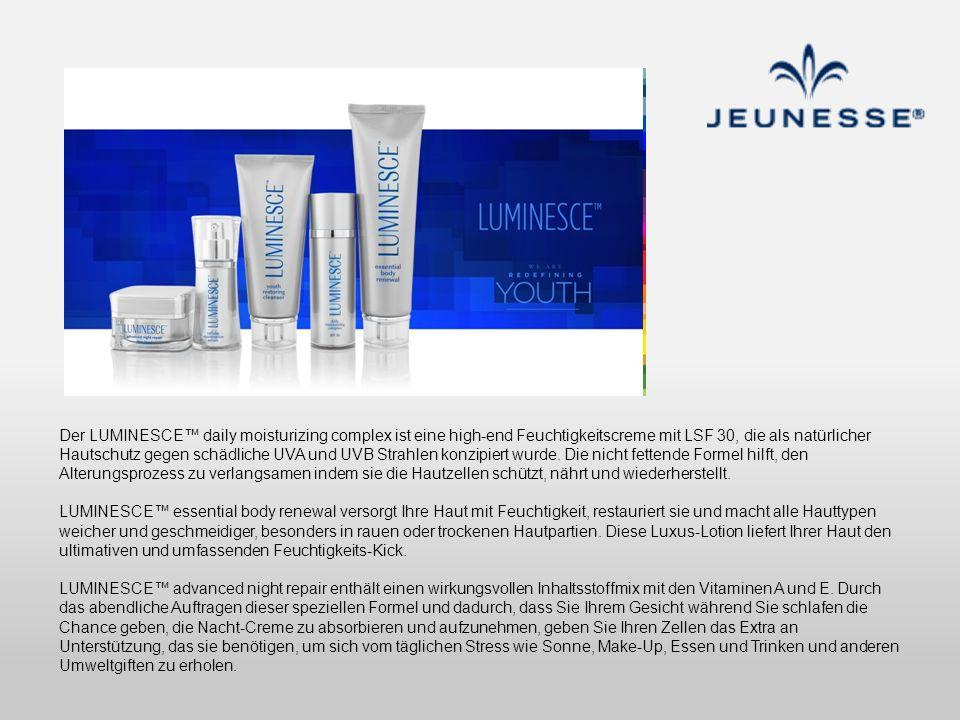 Der LUMINESCE™ daily moisturizing complex ist eine high-end Feuchtigkeitscreme mit LSF 30, die als natürlicher Hautschutz gegen schädliche UVA und UVB Strahlen konzipiert wurde. Die nicht fettende Formel hilft, den Alterungsprozess zu verlangsamen indem sie die Hautzellen schützt, nährt und wiederherstellt.