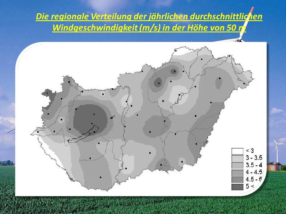 Die regionale Verteilung der jährlichen durchschnittlichen Windgeschwindigkeit (m/s) in der Höhe von 50 m