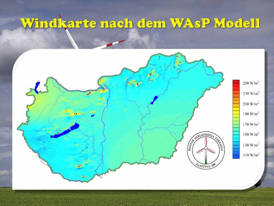 Windkarte nach dem WAsP Modell