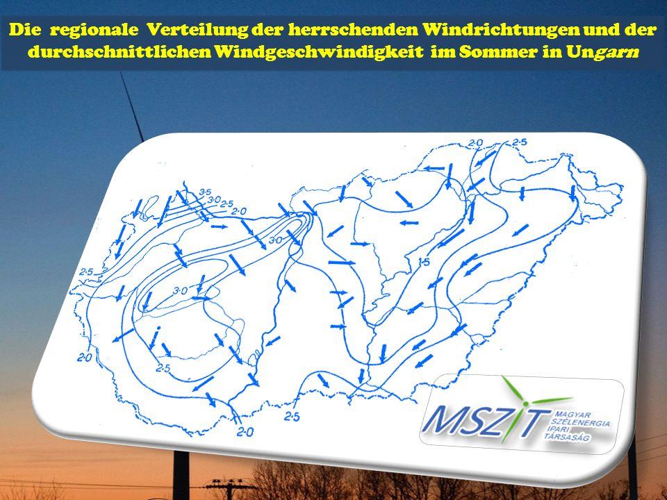 Die regionale Verteilung der herrschenden Windrichtungen und der durchschnittlichen Windgeschwindigkeit im Sommer in Ungarn