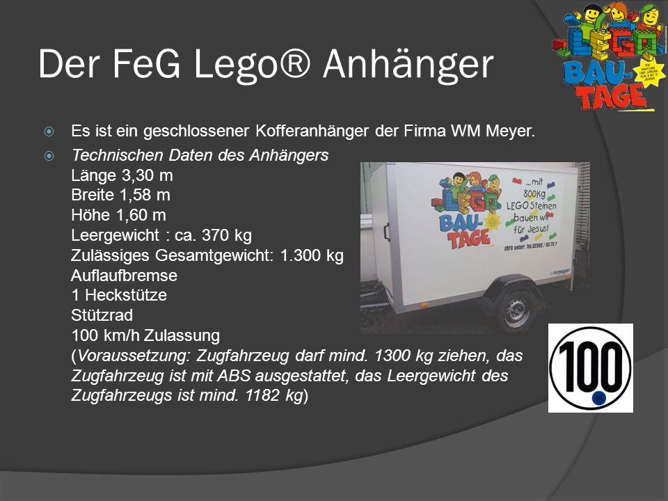 Der FeG Lego® Anhänger Es ist ein geschlossener Kofferanhänger der Firma WM Meyer.