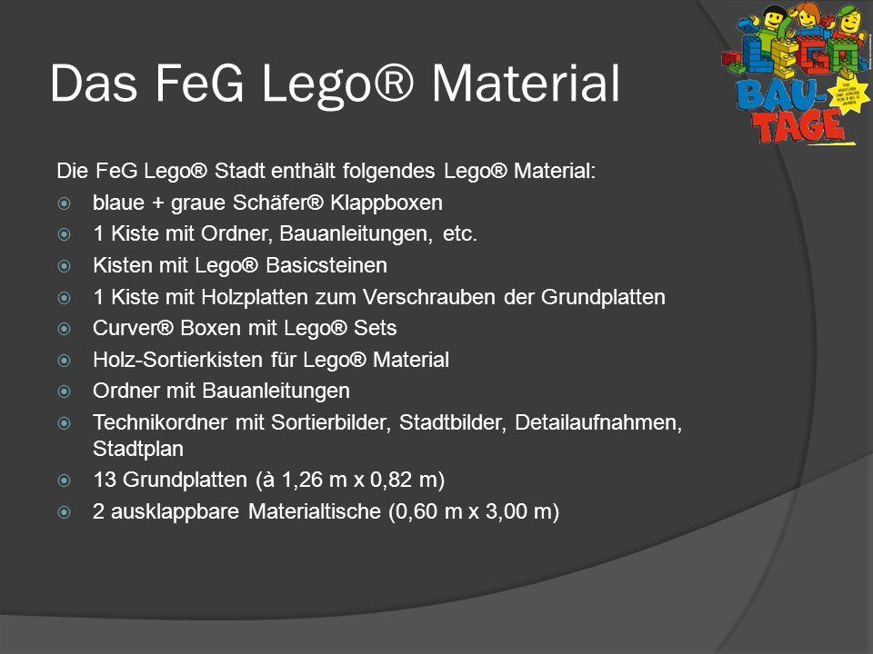 Das FeG Lego® MaterialDie FeG Lego® Stadt enthält folgendes Lego® Material: blaue + graue Schäfer® Klappboxen.