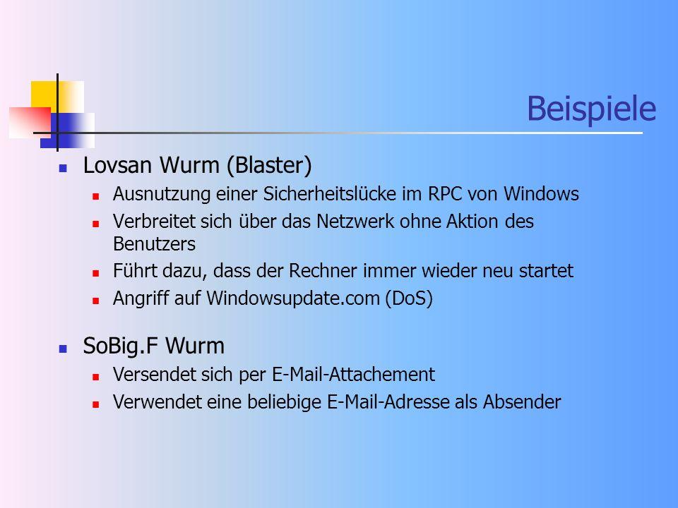 Beispiele Lovsan Wurm (Blaster) SoBig.F Wurm