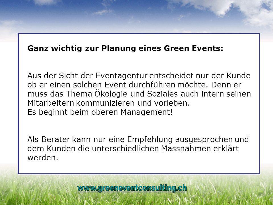 Ganz wichtig zur Planung eines Green Events: