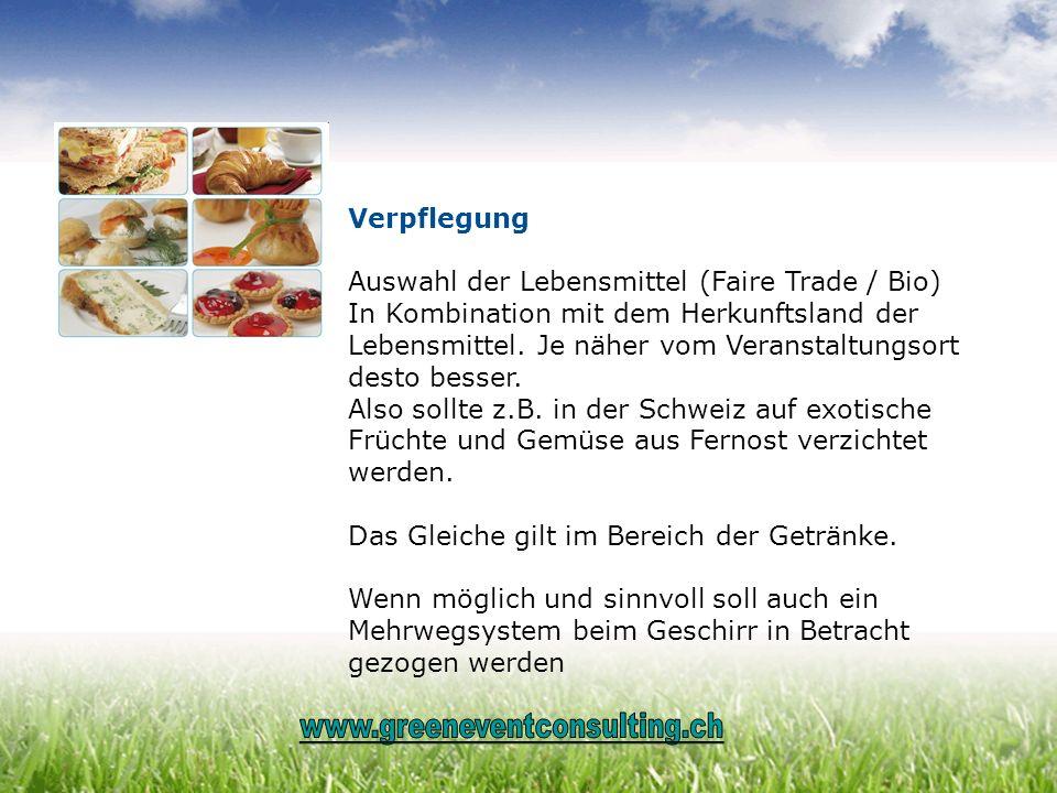 Auswahl der Lebensmittel (Faire Trade / Bio)