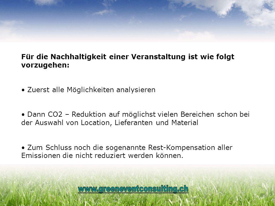 Für die Nachhaltigkeit einer Veranstaltung ist wie folgt vorzugehen: