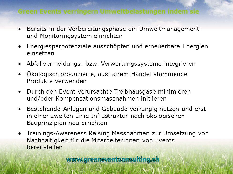 Green Events verringern Umweltbelastungen indem sie