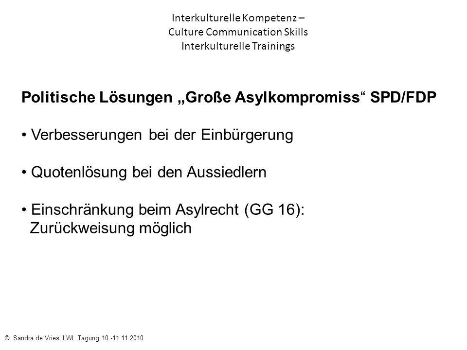 "Politische Lösungen ""Große Asylkompromiss SPD/FDP"