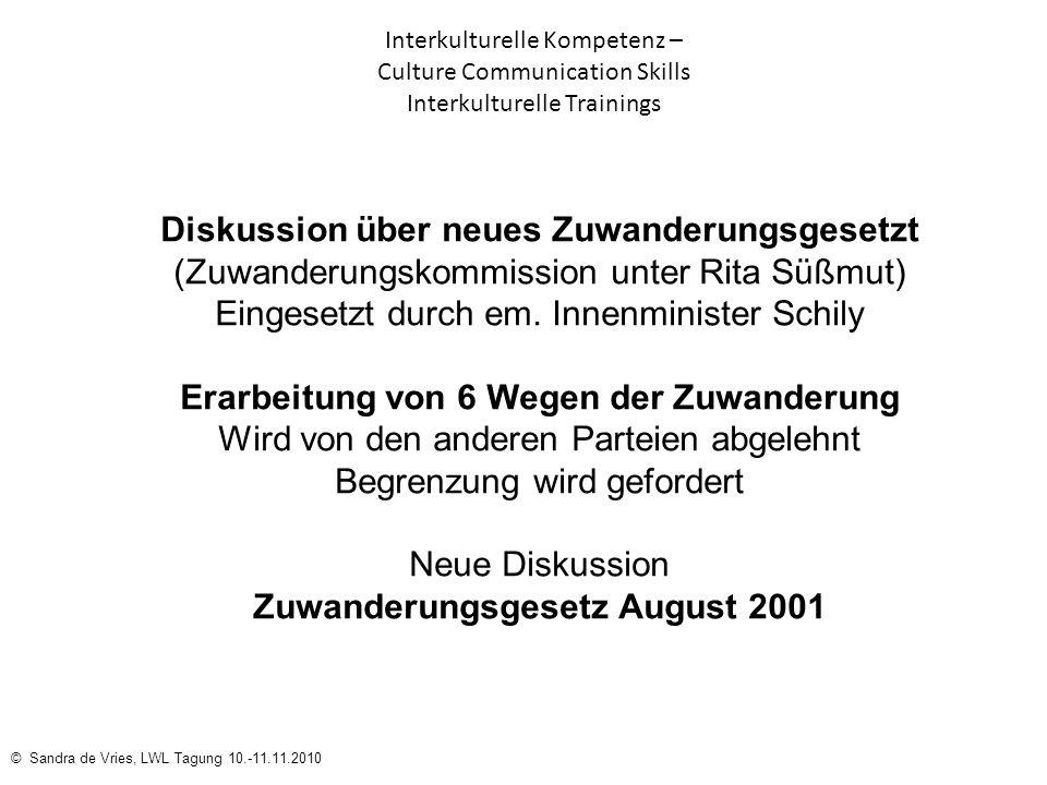 Erarbeitung von 6 Wegen der Zuwanderung Zuwanderungsgesetz August 2001