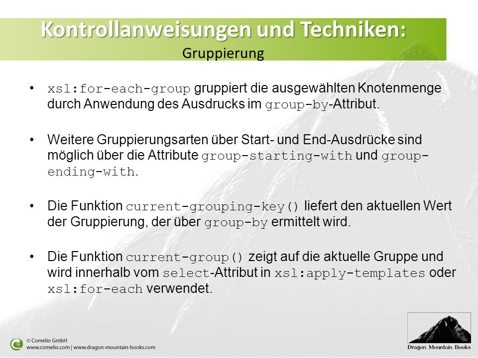 Kontrollanweisungen und Techniken: Gruppierung