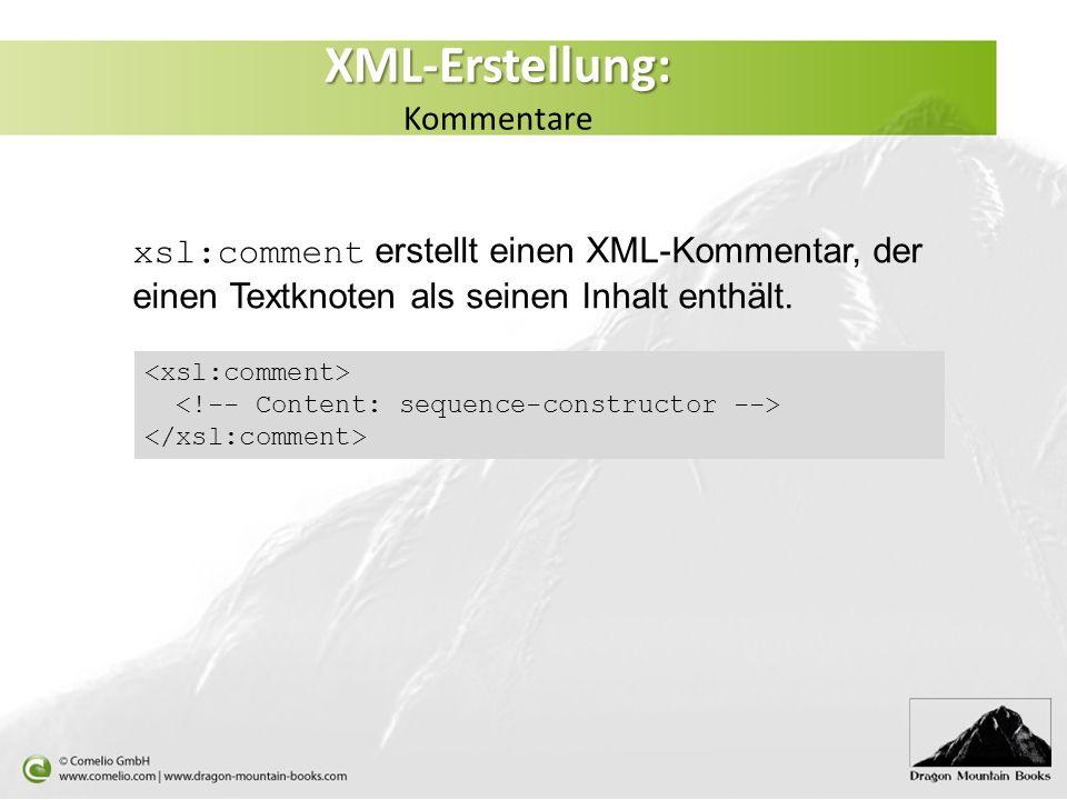 XML-Erstellung: Kommentare