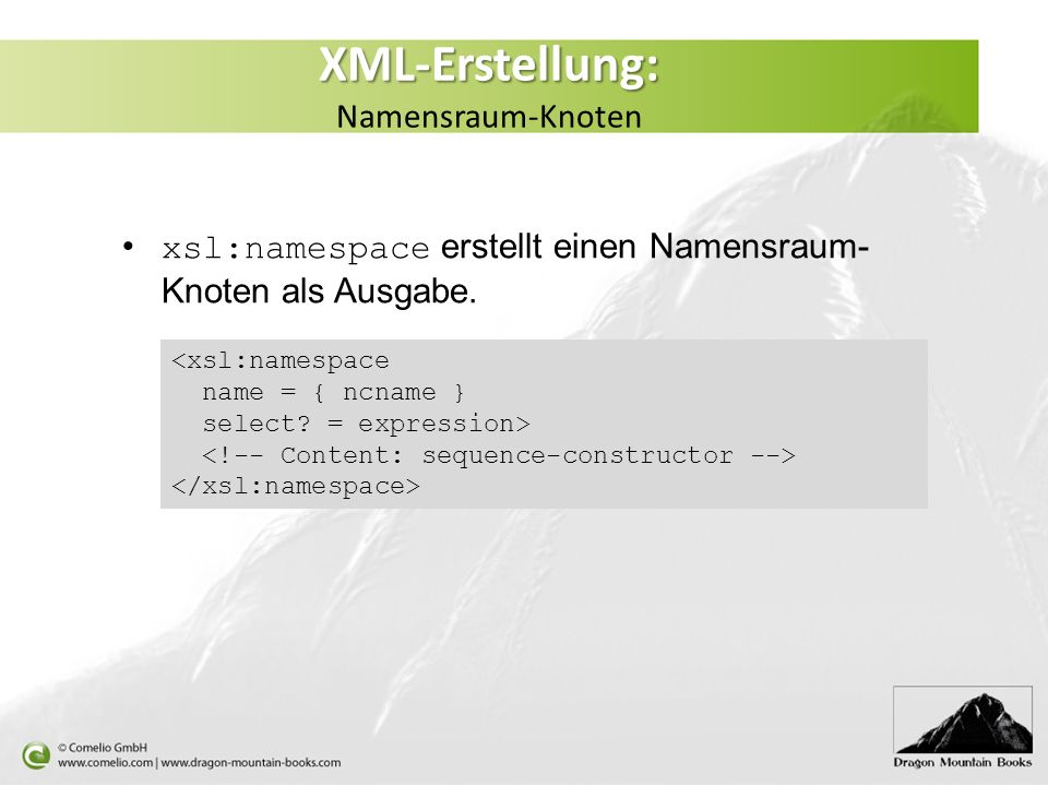 XML-Erstellung: Namensraum-Knoten