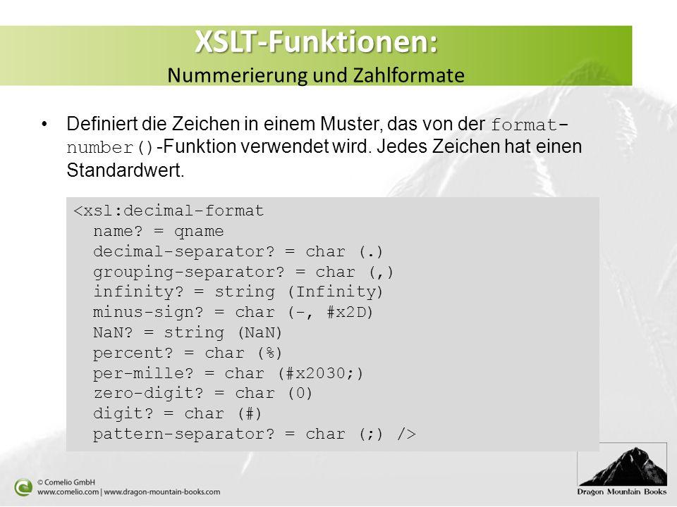 XSLT-Funktionen: Nummerierung und Zahlformate