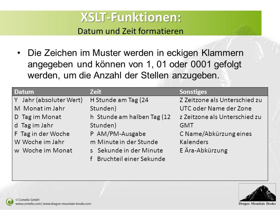 XSLT-Funktionen: Datum und Zeit formatieren
