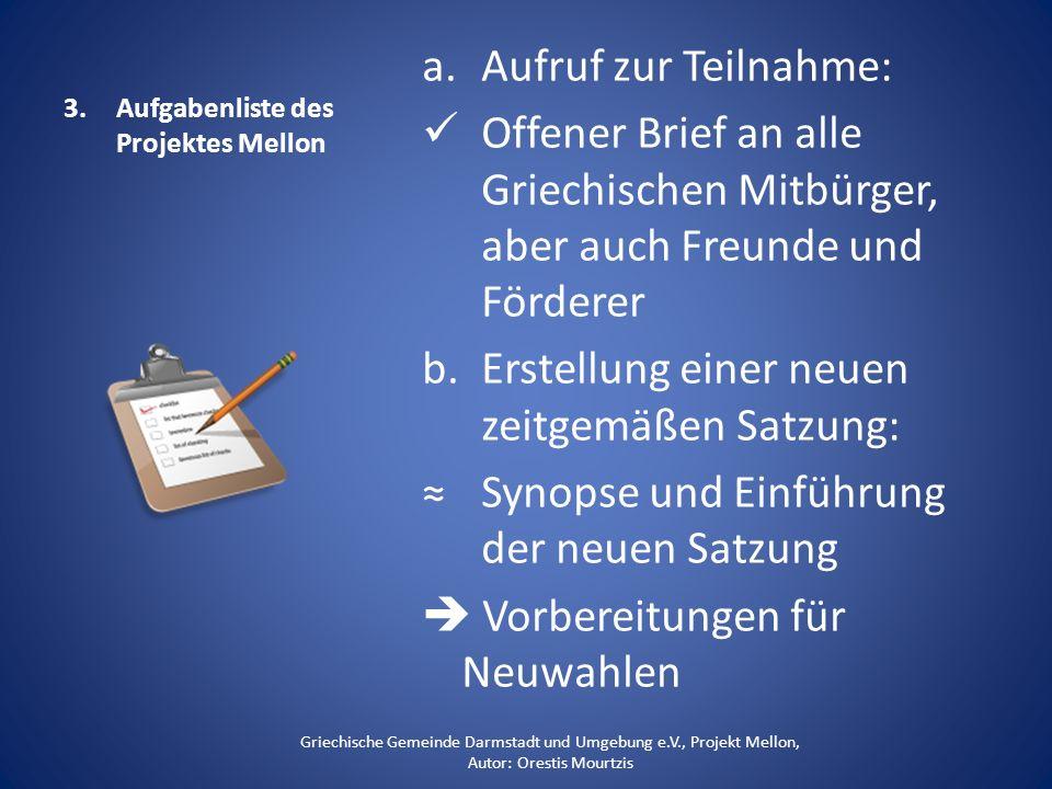 Aufgabenliste des Projektes Mellon