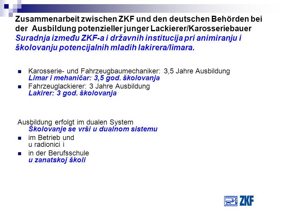 Zusammenarbeit zwischen ZKF und den deutschen Behörden bei der Ausbildung potenzieller junger Lackierer/Karosseriebauer Suradnja između ZKF-a i državnih institucija pri animiranju i školovanju potencijalnih mladih lakirera/limara.