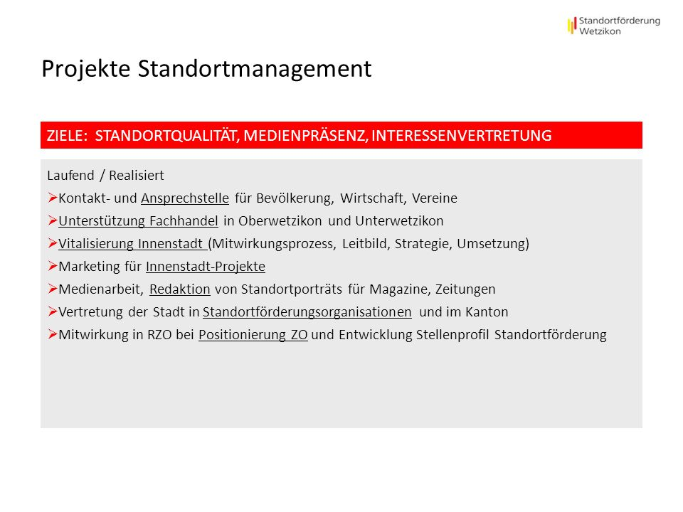 Projekte Standortmanagement
