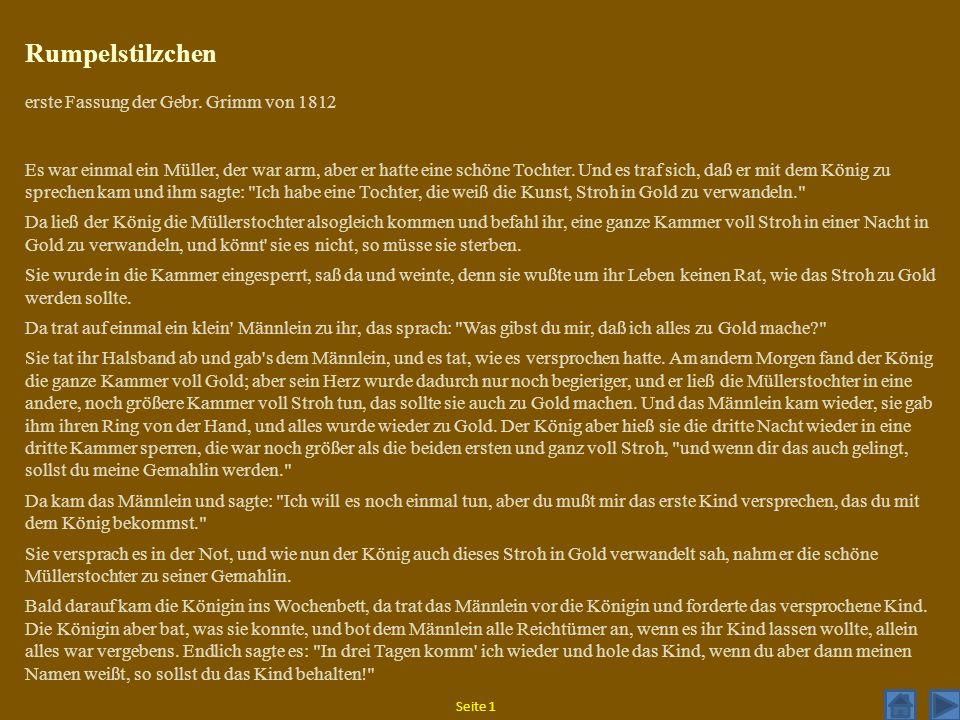 Rumpelstilzchen erste Fassung der Gebr. Grimm von 1812
