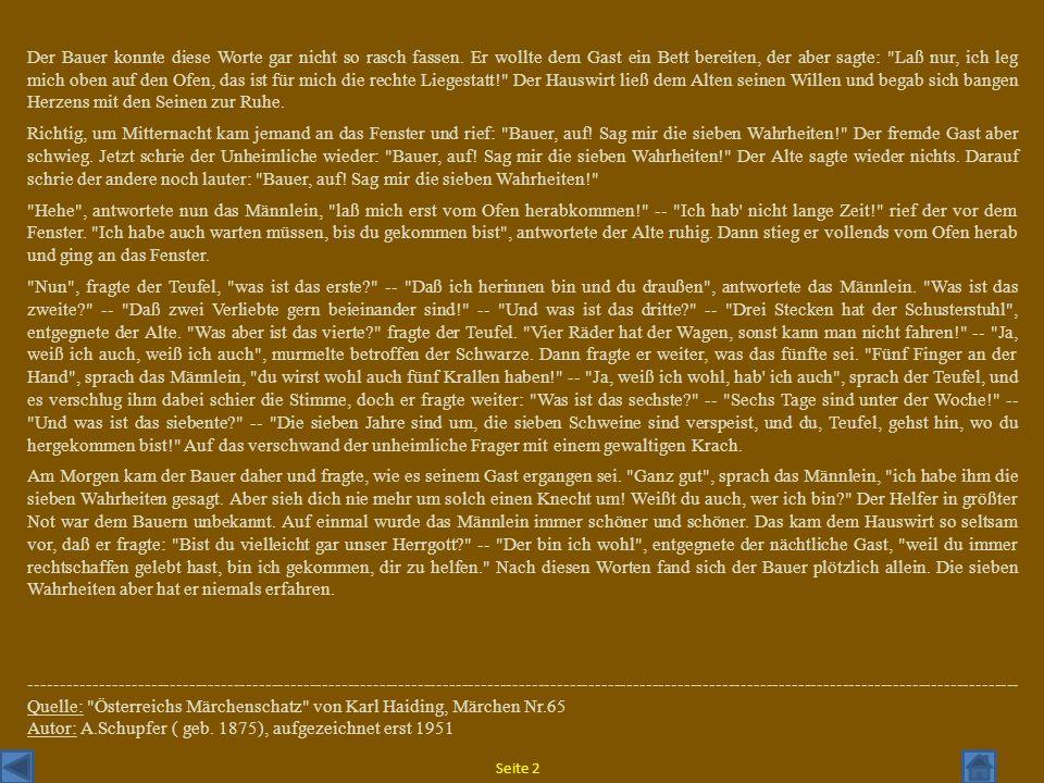 Quelle: Österreichs Märchenschatz von Karl Haiding, Märchen Nr.65
